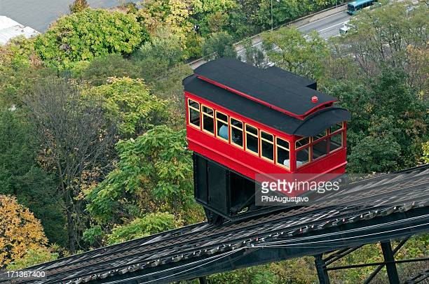 Cable car climbing incline in Pittsburgh