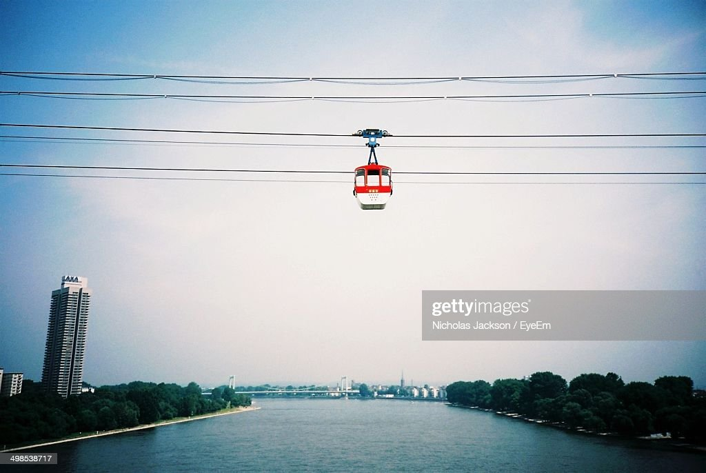 Cable car crossing river