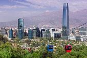 Cable car in Santiago of Chile. Cerro San Cristobal