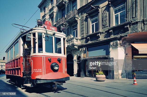 Cable car in street of Istiklal, Beyoglu, Istanbul, Turkey