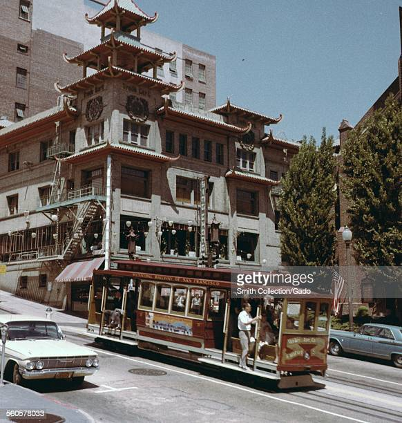 Cable car on a hill Chinatown San Francisco California 1966