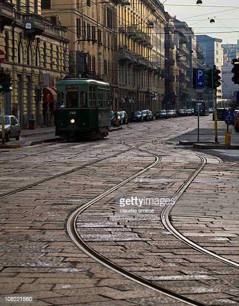 Cable Car on Cobblestone Milan Street. Color Image