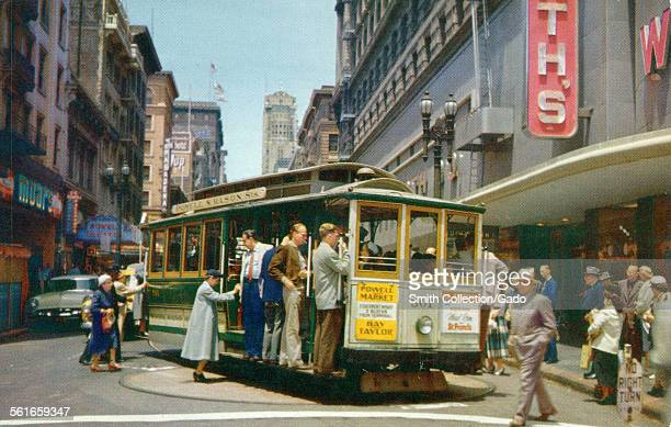 Cable Car on turntable Powell and Market Streets in San Francisco California 1945