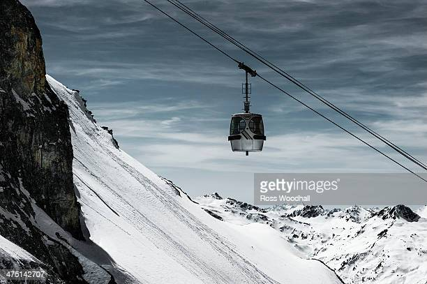 Cable car over mountain, Les Arcs, France