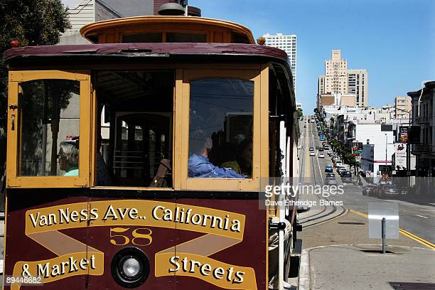 A cable car proceeds along the California Street route on June 14 2009 in San Francisco United States The San Francisco cable car system is the...