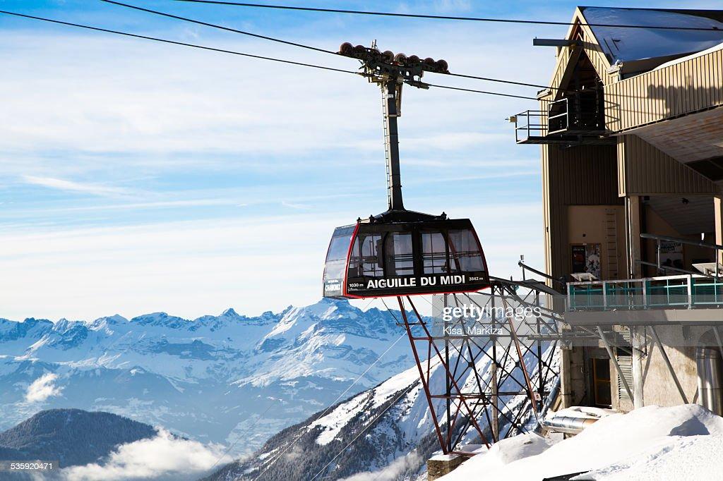 Cable Car Telepherique Auguille du Midi : Stock Photo