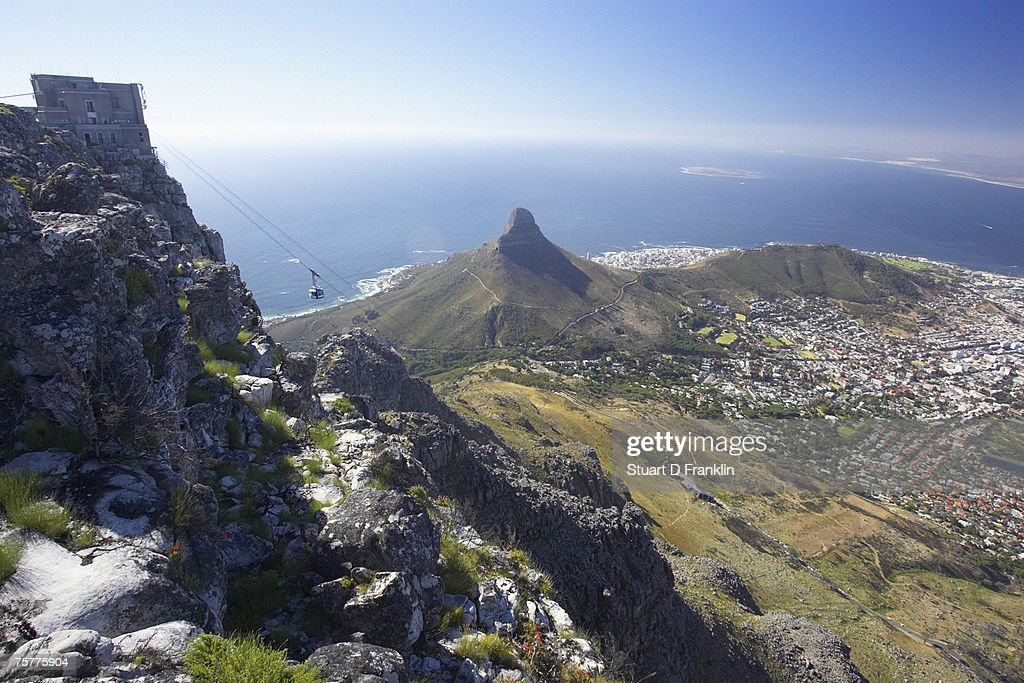 Cable Car to Table Mountain - City and Signal Hill Below Cape Town, Western Cape Province, South Africa : Stock Photo
