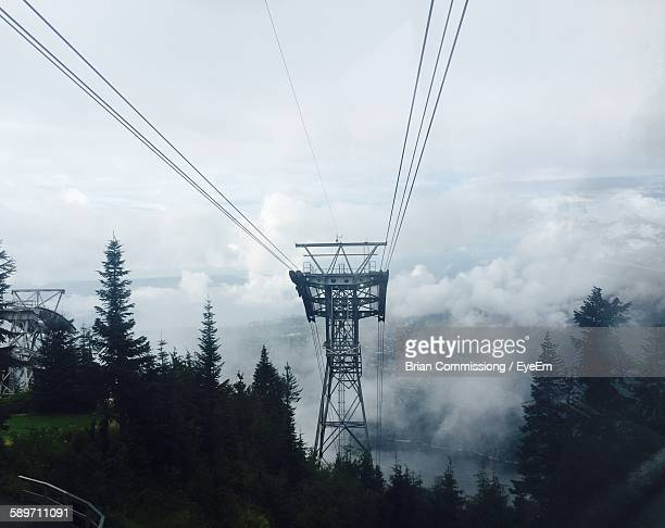 Cable Car Tower On Mountain
