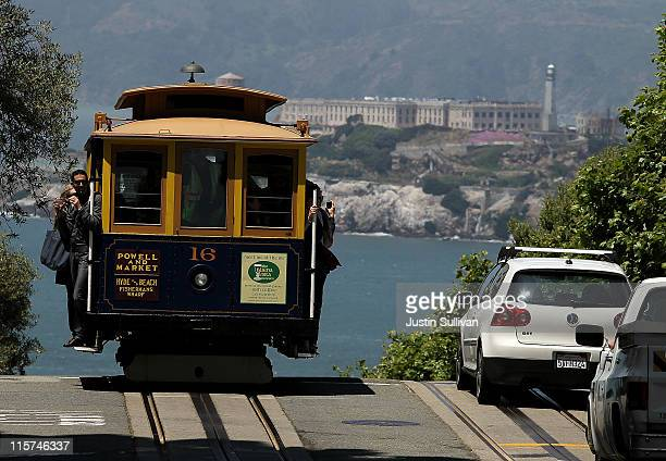 A cable car travels along Hyde Street on June 9 2011 in San Francisco California Beginning on July 1 the price for a ride on San Francisco's famed...