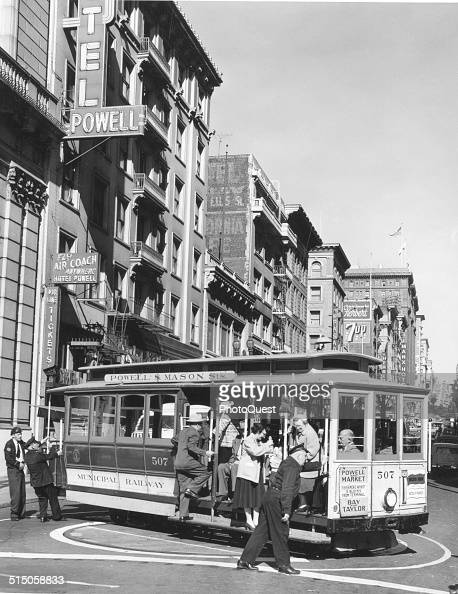 A cable car turns on the turntable at the start of its route San Francisco California 1965