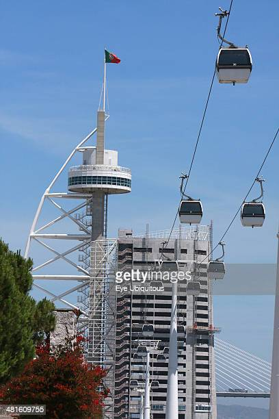 Cable Cars in the Park of Nations with the Vasco da Gama Tower in the background