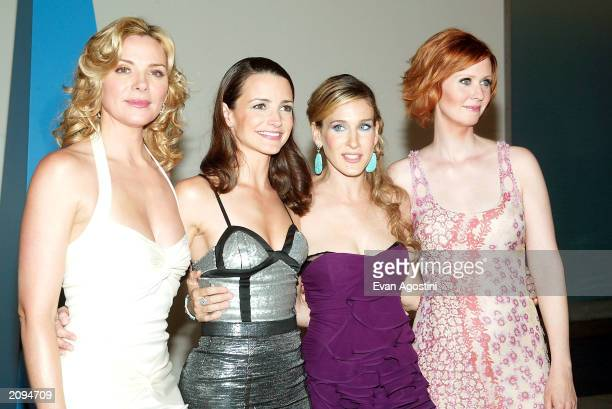 Cable television actresses Kim Cattrall Kristin Davis Sarah Jessica Parker and Cynthia Nixon attend the 'Sex and The City' Party at the American...