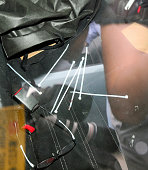 Cable ties are seen in a car suspect Satoshi Uematsu drove to turn in with a blue tarp at Tsukui Police Station on July 26 2016 in Sagamihara...