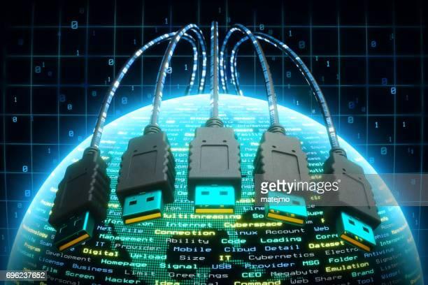 USB-Kabel über Globus Erde