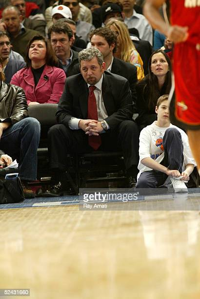 Cablevision President James Dolan watches the Miami Heat and New York Knicks NBA game on March 15 2005 at Madison Square Garden in New York City NOTE...