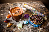 Cacao Beverage and Chakra Color Gemstones