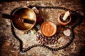 Cacao Beverage, Tibetan Singing Bowl, candle  and Gemstones