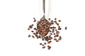 Cacao nibs in a spoon on white background - isolated