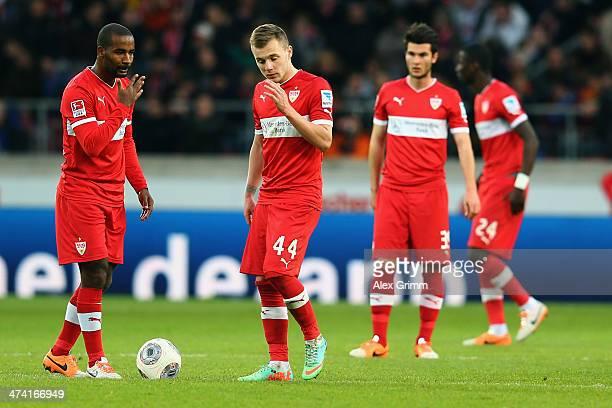Cacau Alexandru Maxim Robin Yalcin and Antonio Ruediger of Stuttgart react after Sandro Wagner of Berlin scored his team's second goal during the...