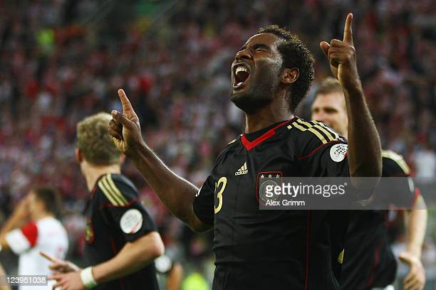 Cacau of Germany celebrates his team's second goal during the International friendly match between Poland and Germany at PGE Arena on September 6...