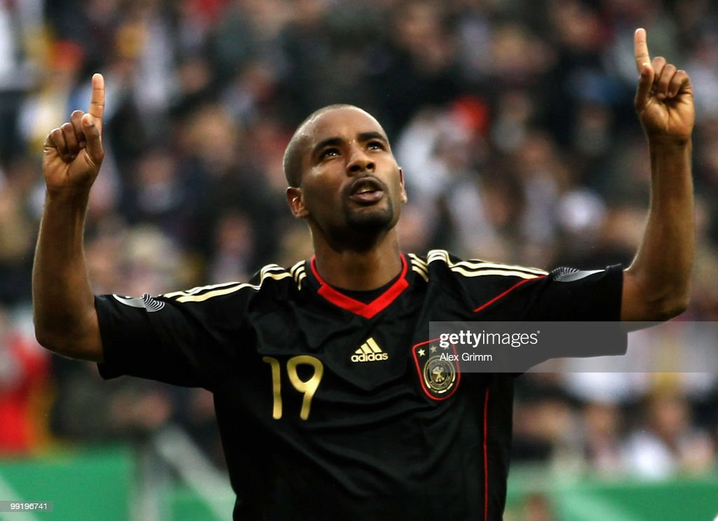 Cacau of Germany celebrates his team's second goal during the international friendly match between Germany and Malta at Tivoli stadium on May 13, 2010 in Aachen, Germany.