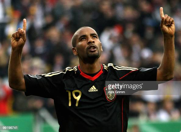 Cacau of Germany celebrates his team's second goal during the international friendly match between Germany and Malta at Tivoli stadium on May 13 2010...
