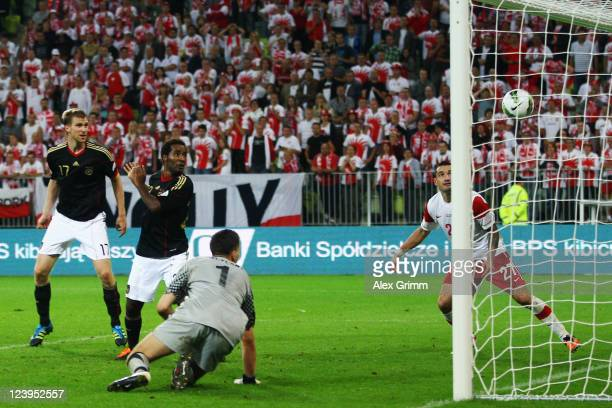 Cacau of Germany scores his team's second goal during the International friendly match between Poland and Germany at PGE Arena on September 6 2011 in...