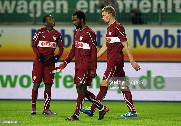 Cacau of Stuttgart looks dejected after the Bundesliga match between VfL Wolfsburg and VfB Stuttgart at the Volkswagen Arena on December 17 2011 in...