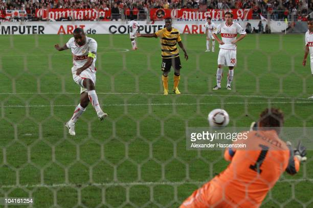 Cacau of Stuttgart scores the opening goal with a penalty kick during the UEFA Europa League group H match between VfB Stuttgart and BSC Young Boys...