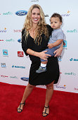 CaCee Cobb and son Rocco Faison attend Ali Landry's 3rd Annual Red CARpet Safety Awareness event at the Skirball Cultural Center on September 28 2014...