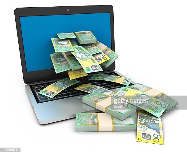 Cache flow from online job. Australian Dollars.