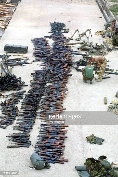 A cache of weapons and ammunition found by the Desert Rats at the Naval Academy north of Basra