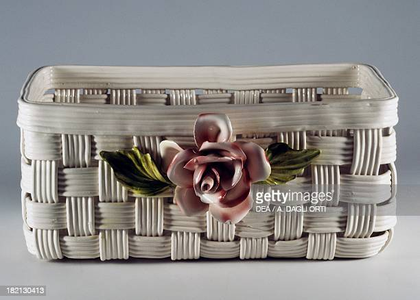 Cachepot in the shape of a basket with applied rose decoration ceramic height 25 cm L'ancora manufacture Nove di Bassano Veneto Italy 20th century