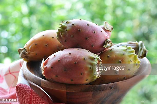Cactus fruits in a wood basket