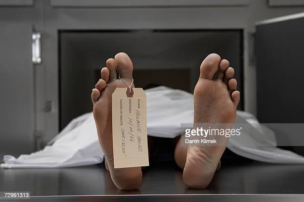'Cadaver on autopsy table, label tied to toe, close-up'