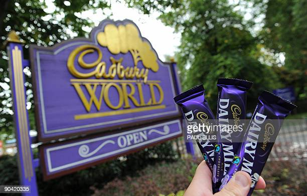 Cadbury Dairy Milk chocolate bars are pictured in front of the Cadbury World tourist attraction at the Cadbury chocolate factory in Birmingham...