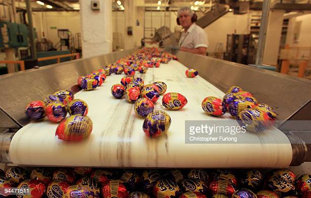 Cadbury's Creme Eggs move down the production line at the Cadbury's Bournville production plant on December 15 2009 in Birmingham England The...