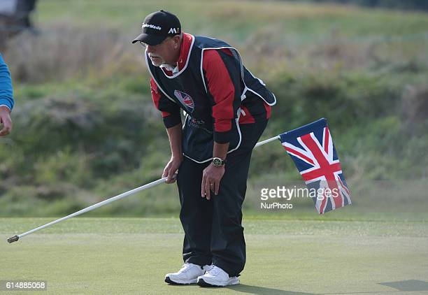 Caddie for Steve Webster during The British Masters 2016 supported by SkySports second round at The Grove Golf Course on October 14 2016 in Watford...