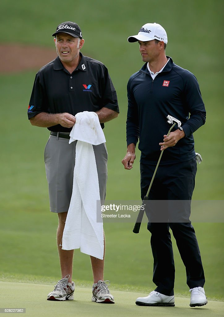 Caddie <a gi-track='captionPersonalityLinkClicked' href=/galleries/search?phrase=Steve+Williams+-+Golf+Caddy&family=editorial&specificpeople=1019959 ng-click='$event.stopPropagation()'>Steve Williams</a> and <a gi-track='captionPersonalityLinkClicked' href=/galleries/search?phrase=Adam+Scott+-+Golfer&family=editorial&specificpeople=202039 ng-click='$event.stopPropagation()'>Adam Scott</a> ahead of the 2016 Wells Fargo Championship at Quail Hollow Club on May 11, 2016 in Charlotte, North Carolina.