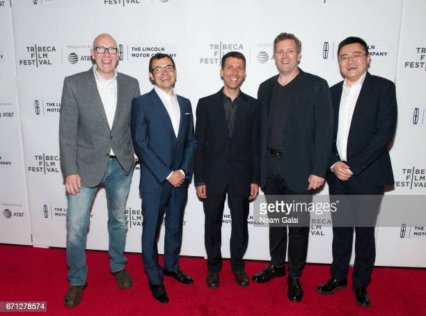 Cade Metz Demis Hassabis David Silver Greg Kohs and Fan Hui attend the 'AlphaGo' premiere during 2017 Tribeca Film Festival at Spring Studios on...