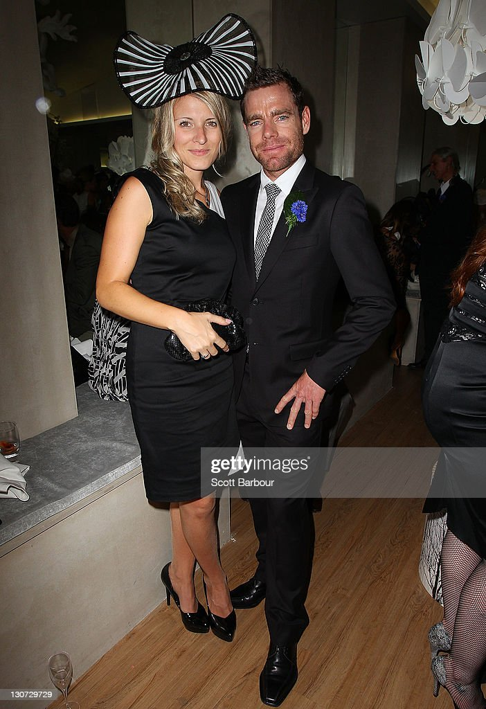 <a gi-track='captionPersonalityLinkClicked' href=/galleries/search?phrase=Cadel+Evans&family=editorial&specificpeople=661127 ng-click='$event.stopPropagation()'>Cadel Evans</a> and his wife Chiara Evans attend the Swisse marquee during Victoria Derby Day at Flemington Racecourse on October 29, 2011 in Melbourne, Australia.