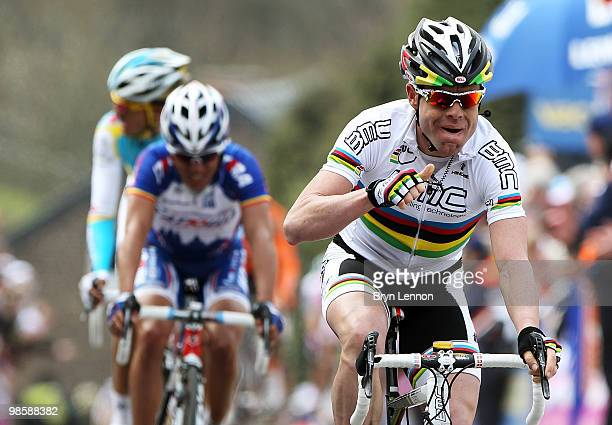Cadel Evans of Australia and BMC Racing crosses the finish line to win during the 74th Fleche Wallonne Race on April 21 2010 in Huy Belgium