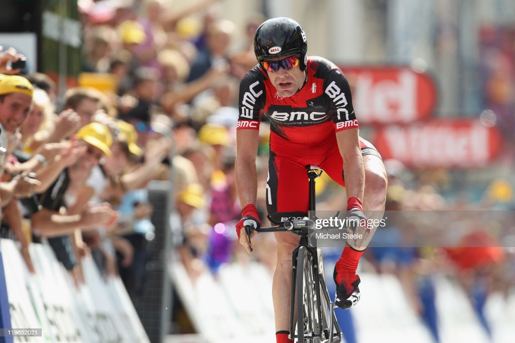 <a gi-track='captionPersonalityLinkClicked' href=/galleries/search?phrase=Cadel+Evans&family=editorial&specificpeople=661127 ng-click='$event.stopPropagation()'>Cadel Evans</a> of Australia and BMC Racing Team heads for the finishing line and records the second fastest time to take over the race leaders yellow jersey after the Individual Time Trial Stage 20 of the 2011 Tour de France on July 23, 2011 in Grenoble, France.