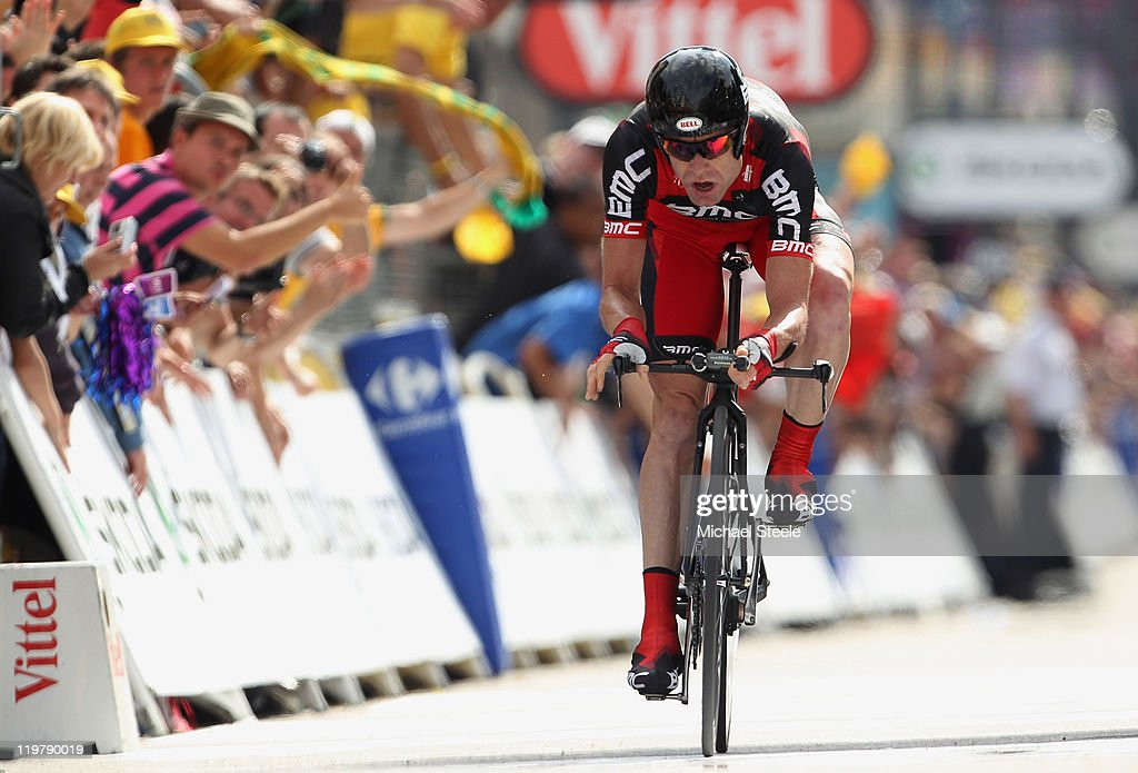 Cadel Evans of Australia and BMC Racing Team heads for the finishing line and records the second fastest time to take over the race leaders yellow jersey after the Individual Time Trial Stage 20 of the 2011 Tour de France on July 23, 2011 in Grenoble, France.