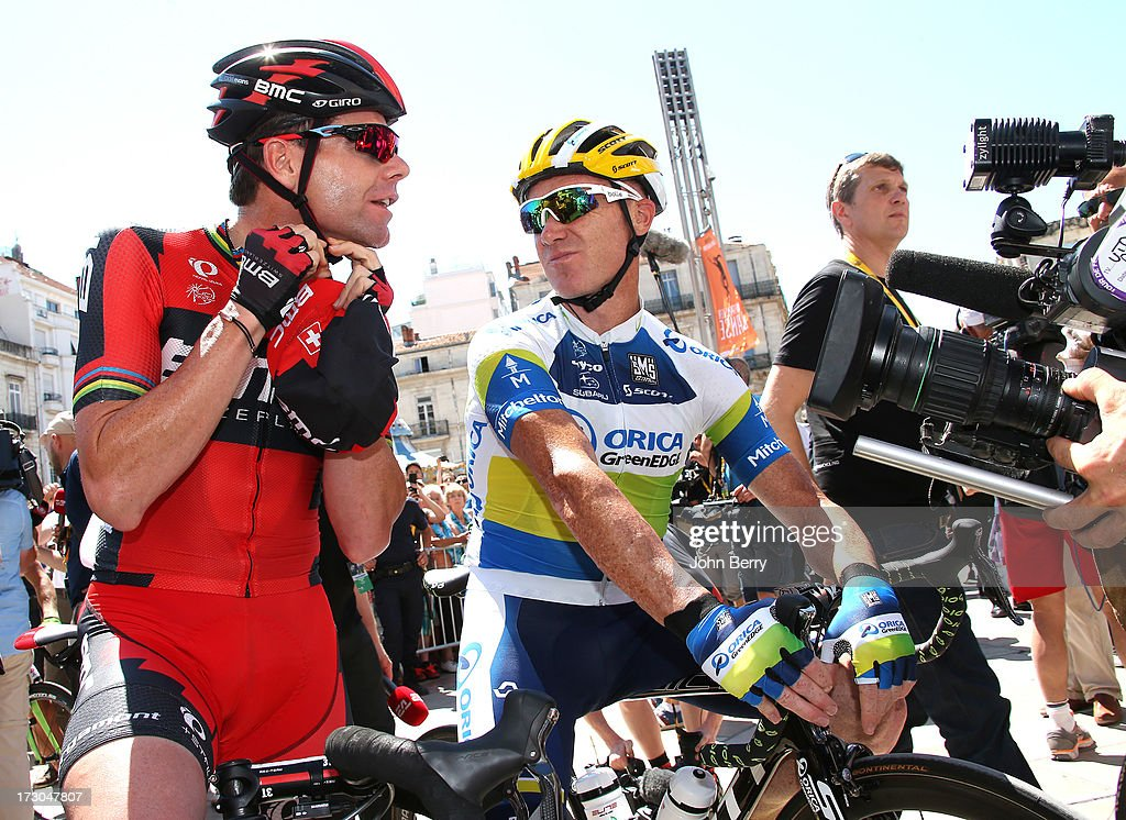 <a gi-track='captionPersonalityLinkClicked' href=/galleries/search?phrase=Cadel+Evans&family=editorial&specificpeople=661127 ng-click='$event.stopPropagation()'>Cadel Evans</a> of Australia and BMC Racing Team, <a gi-track='captionPersonalityLinkClicked' href=/galleries/search?phrase=Stuart+O%27Grady&family=editorial&specificpeople=217340 ng-click='$event.stopPropagation()'>Stuart O'Grady</a> of Australia and Team orica GreenEdge get ready for the Stage Seven of the Tour de France 2013 - the 100th Tour de France -, a 205 km road stage from Montpellier to Albi on July 5, 2013 in Montpellier, France.