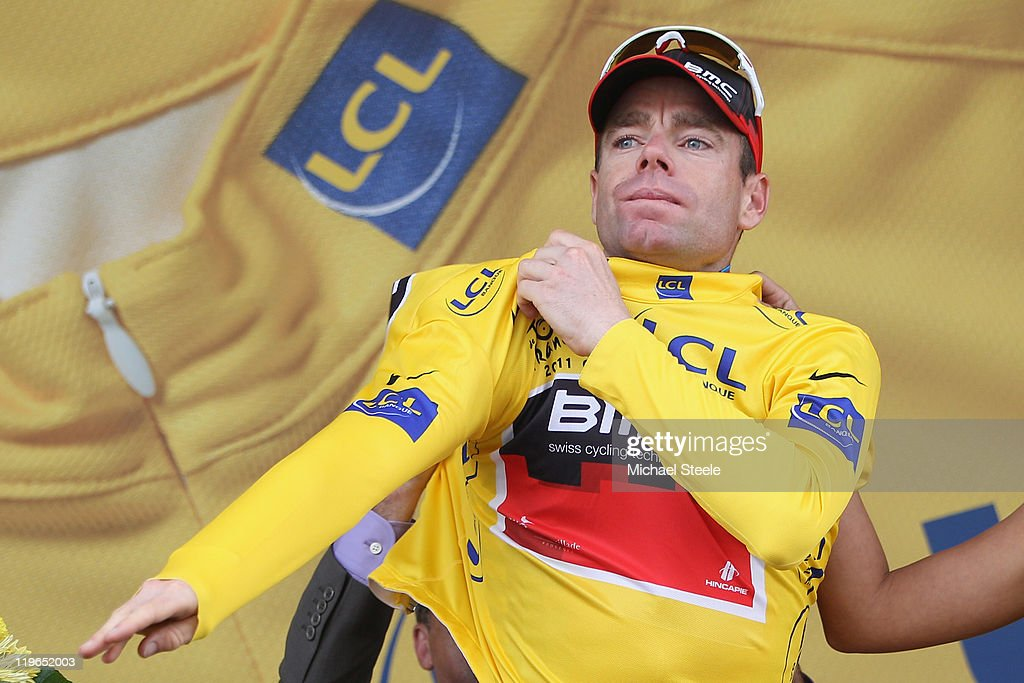 Cadel Evans of Australia and BMC Racing Team takes over the race leaders yellow jersey after the Individual Time Trial Stage 20 of the 2011 Tour de France on July 23, 2011 in Grenoble, France.