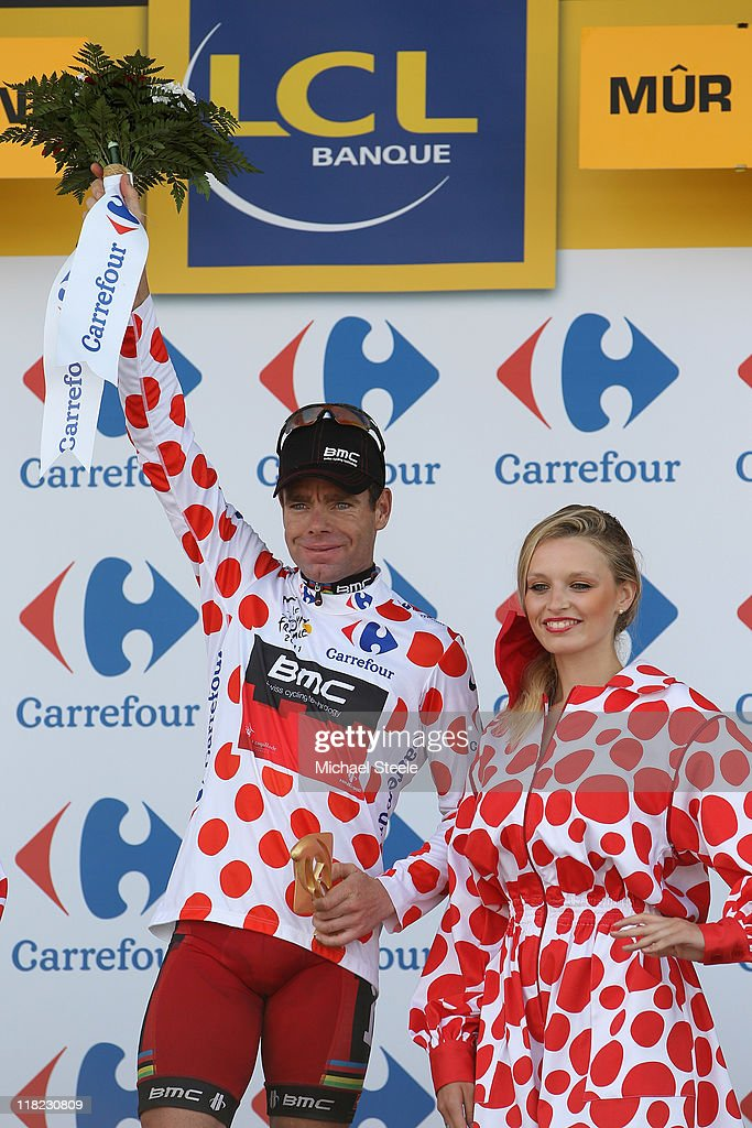 <a gi-track='captionPersonalityLinkClicked' href=/galleries/search?phrase=Cadel+Evans&family=editorial&specificpeople=661127 ng-click='$event.stopPropagation()'>Cadel Evans</a> of Australia and team BMC Racing with the King of the Mountains jersey after Stage 4 of the 2011 Tour de France from Lorient to Mur de Bretagne on on July 5, 2011 in Bretagne, France.