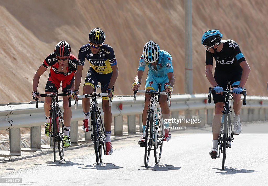 Cadel Evans of Australia and the BMC Racing Team, Alberto Contador of Spain and Team Saxo-Tinkoff, Vincenzo Nibali of Italy and the Astana Pro Team and Chris Froome of Great Britain and SKY Procycling climb Green Mountain during stage four of the 2013 Tour of Oman from Al Saltiyah in Samail to Jabal Al Akhdhar (Green Mountain) on February 14, 2013 in Jabal Al Akhdhar, Oman.