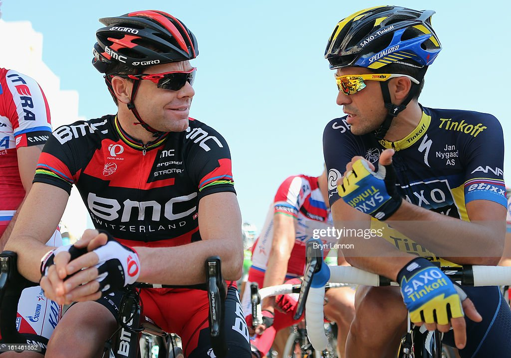 Cadel Evans of Australia and the BMC Racing Team chats to Alberto Contador of Spain and Team Saxo-Tinkoff during stage one of the 2013 Tour of Oman from Al Musannah to Sultan Qaboos University on February 11, 2013 in Muscat, Oman.