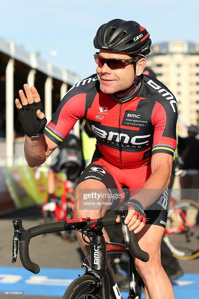 <a gi-track='captionPersonalityLinkClicked' href=/galleries/search?phrase=Cadel+Evans&family=editorial&specificpeople=661127 ng-click='$event.stopPropagation()'>Cadel Evans</a> of Australia and the BMC Racing team waves at spectators before riding in the People's Choice Classic, a one day event prior to Stage 1 of the 2015 Santos Tour Down Under on January 18, 2015 in Adelaide, Australia.